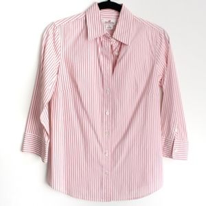 J.Crew XS Pink Striped 3/4 Sleeve Blouse